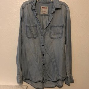 Blue denim striped shirt